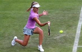 blonde, tennis, girl, pigtails, tennis rackets, Katie Swan