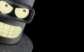 robot, black background, Bender, Futurama
