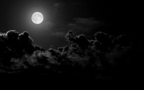 clouds, moonlight