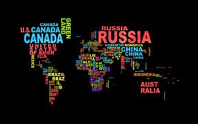 world map, typography, black background