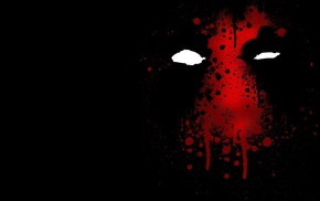 black background, Deadpool, red, Marvel Comics