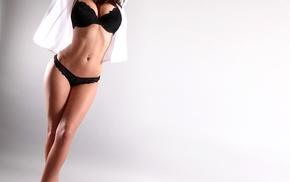 girl, high heels, Sabine Jemeljanova, black lingerie, looking at viewer, hands on head