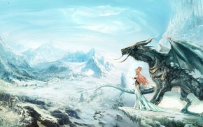 dragon, village, digital art, frozen lake, snow