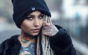 face, Fishball Suicide, tattoo, nose rings, looking at viewer, portrait