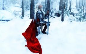 fantasy art, girl, snow, winter