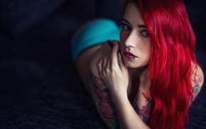 dyed hair, tattoo, piercing, girl, pierced nose, lying on front