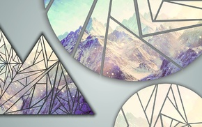 snow, shapes, triangle, poly, mountains, CMYK