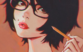 drawing, glasses, Ilya Kuvshinov, cartoon