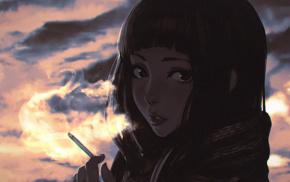 cartoon, digital art, anime girls, smoking, face, cigarettes