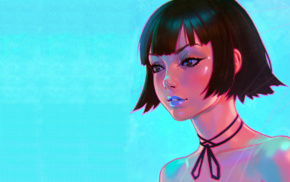 Ilya Kuvshinov, drawing, aqua