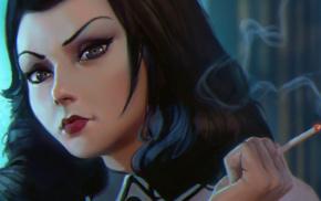 BioShock Infinite, Ilya Kuvshinov, smoking, drawing, video games, BioShock Infinite Burial at Sea
