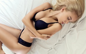 pierced navel, arms crossed, lingerie, girl, lying on back, Maria Domark