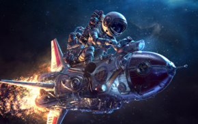 3D, science fiction, spaceship, astronaut