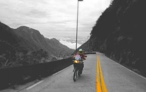 selective coloring, highway, motorcycle, adventurers