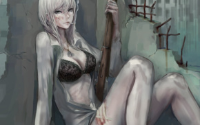 weapon, open shirt, anime, anime girls, original characters