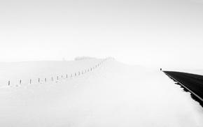snow, road, landscape, winter