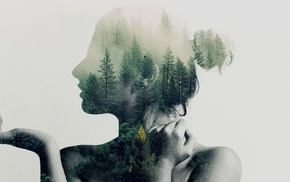 trees, double exposure, girl