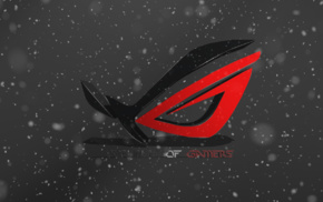 red, logo, Republic of Gamers, spike, ASUS, 3D