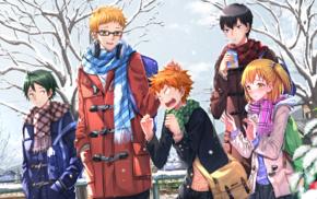 Haikyuu, Kageyama Tobio, Tsukishima Kei, snow, Hinata Shouyou, Yamaguchi Tadashi