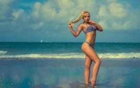 sea, girl outdoors, blonde, girl, model, beach