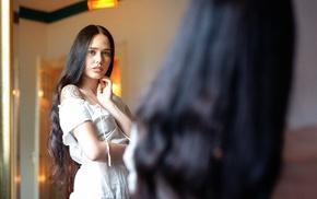 mirror, reflection, model, girl