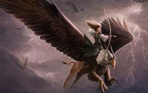 archer, girl, fantasy art, artwork