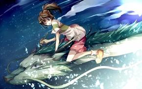 anime girls, Spirited Away, dragon