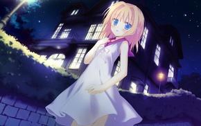 loli, stars, Nikaidou Ai, house, blue eyes, anime girls