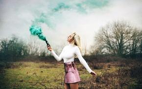 smoke, girl, model, girl outdoors
