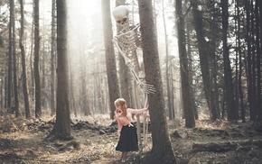 forest, girl, skeleton, fantasy art