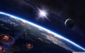 space, atomic bomb, apocalyptic, digital art, planet