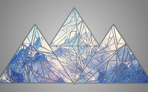 Facets, mountains, blue, RGB, shapes, poly