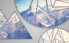 poly, mountains, Facets, blue, RGB, shapes