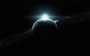 space art, planet, flares, space