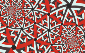 fractal, abstract, red, symmetry