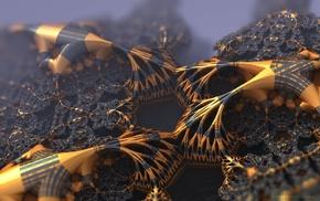 gold, abstract, black, fractal, 3D fractal