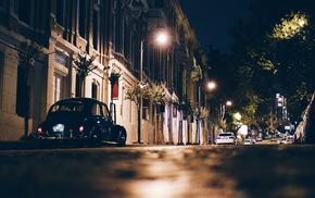 street, car, city, sidewalks, worms eye view