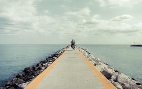 rock, landscape, pier, sea, photography, water