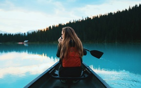 river, forest, portrait, girl, rowing, boat