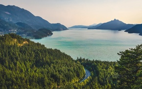 river, road, mountains, bay, water, hills