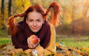 fall, braids, girl outdoors, smiling, pigtails, grass
