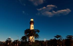 lighthouse, city, landscape