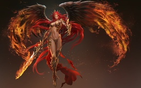 wings, sword, angel, fire, redhead, fantasy art
