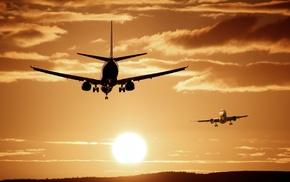 clouds, hills, Photoshop, passenger aircraft, flying, Sun