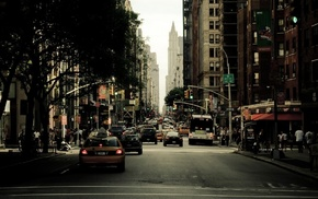 city, building, street, taxi, New York City