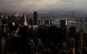 city, river, building, skyscraper, New York City, skyline
