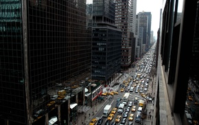 taxi, car, city, street, building, New York City