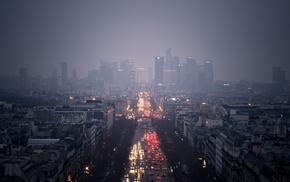 city, night, skyline, street