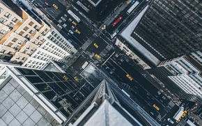 street, birds eye view, taxi, skyscraper, heights, building