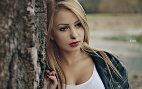 red lipstick, girl, red, Anida Halilovi, blonde